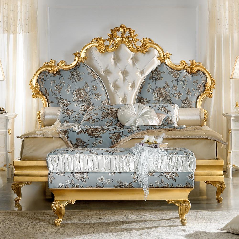 Gold Leaf Rococo Button Upholstered Bed