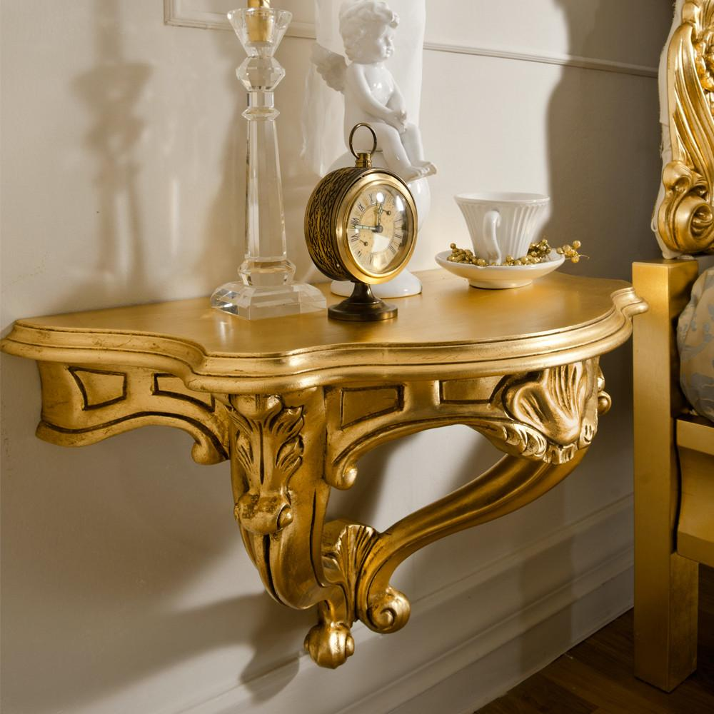 Gold Leaf Rococo Wall Fixing Bedside Table