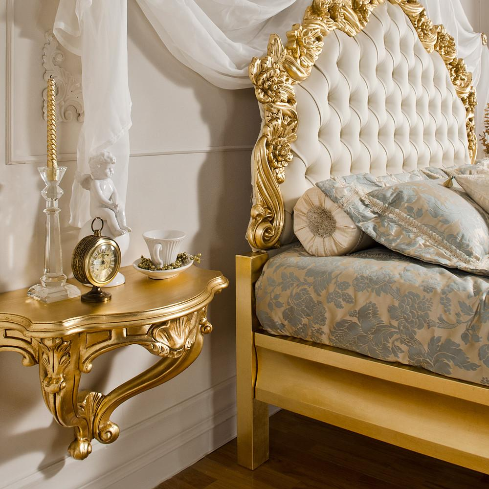 Gold Leaf Rococo Wall Fixing Bedside Table Juliettes