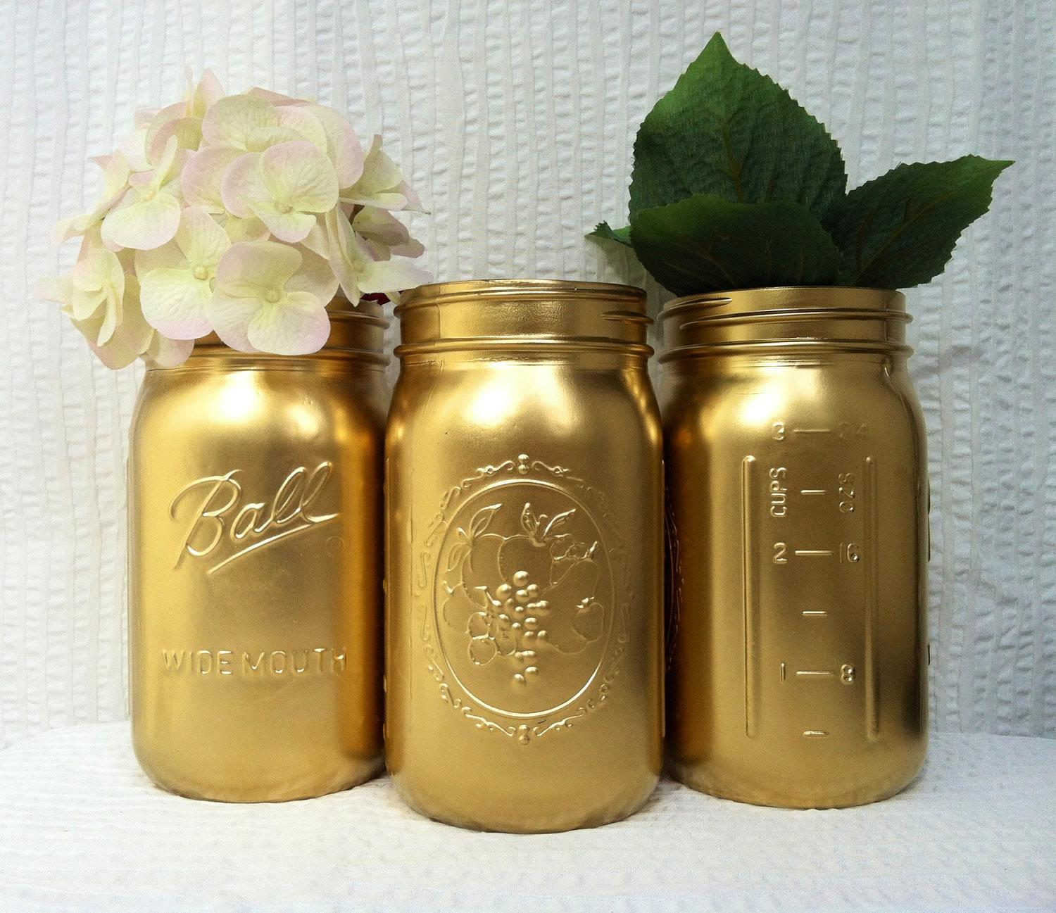 Gold Painted Mason Jar Vases Holiday Decor Centerpieces