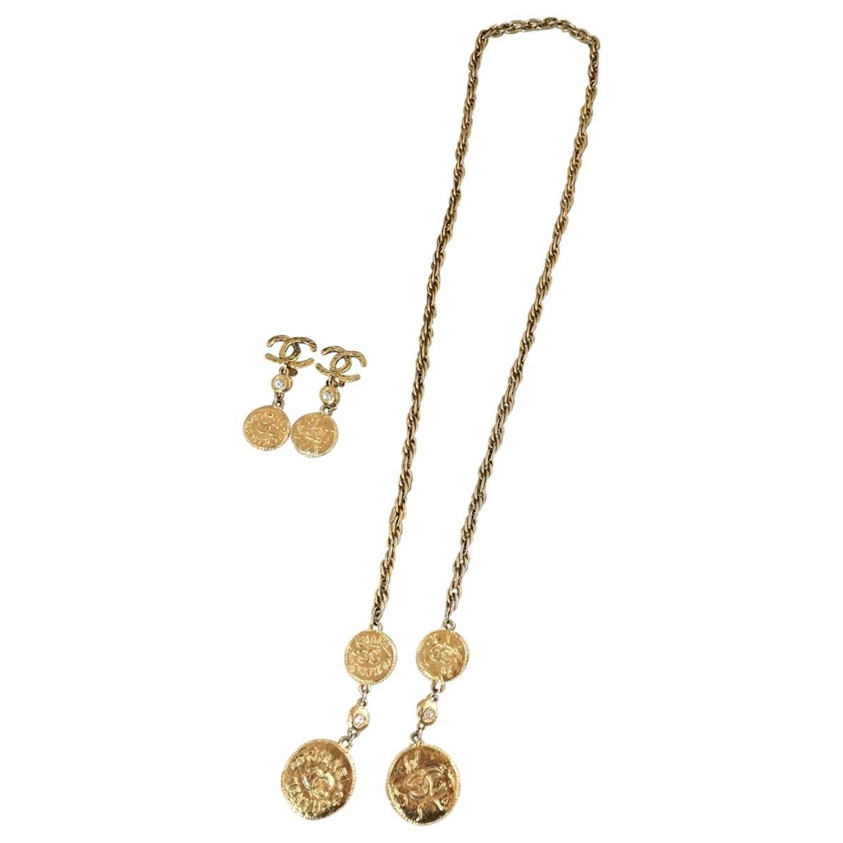 Gold Plain Metal Chanel Jewellery Set Vestiaire Collective