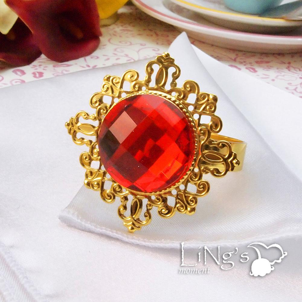Gold Plated Diamond Gem Napkin Ring Serviette Holder