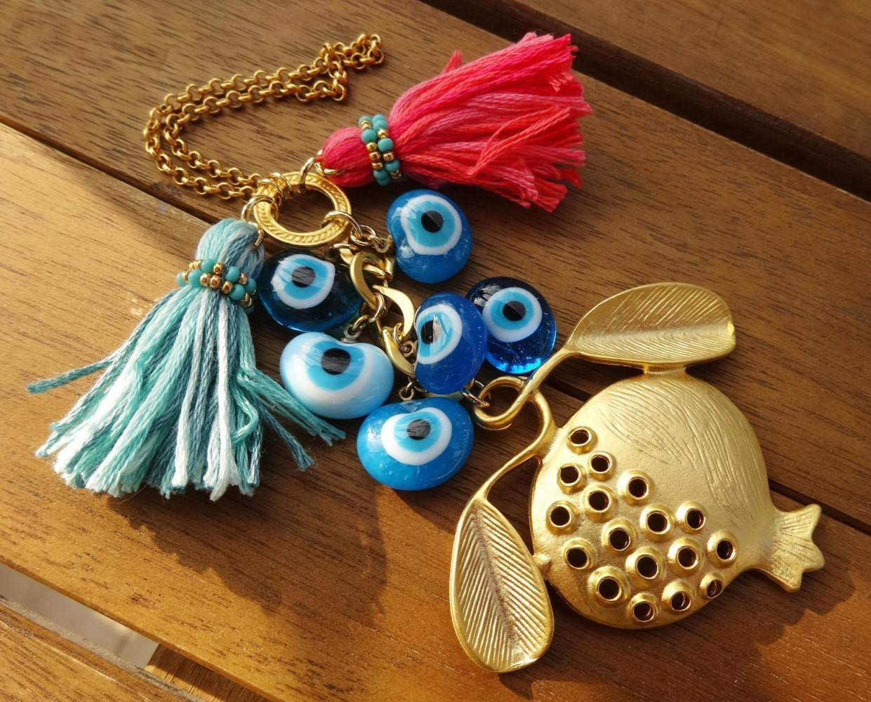 Gold Pomegranate Charm Evil Eye Beaded Tassel Home Decor