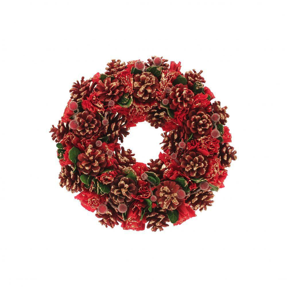 Gold Red Green Xmas Wreath Easy Florist Supplies