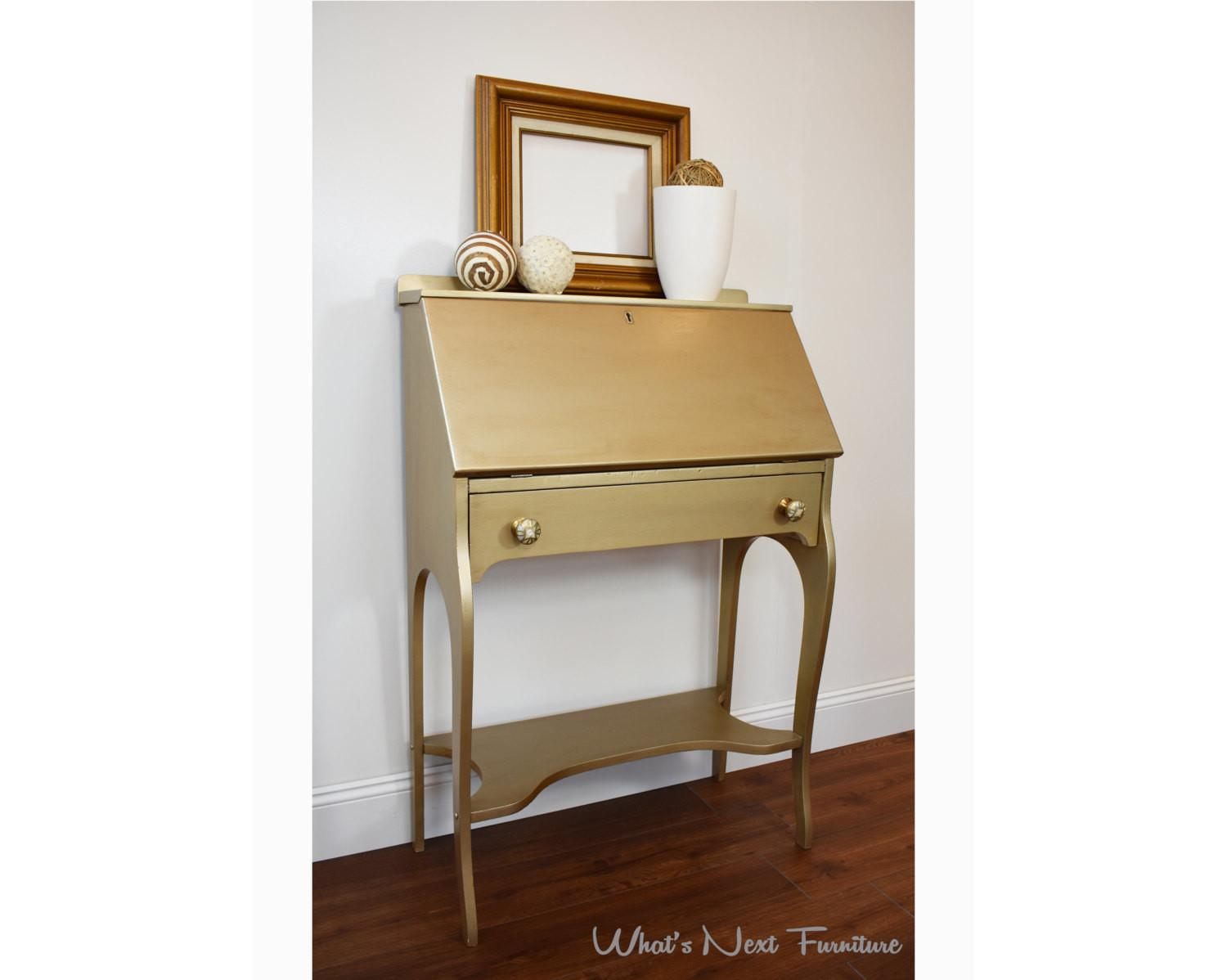 Gold Secretary Desk Small Metallic Painted