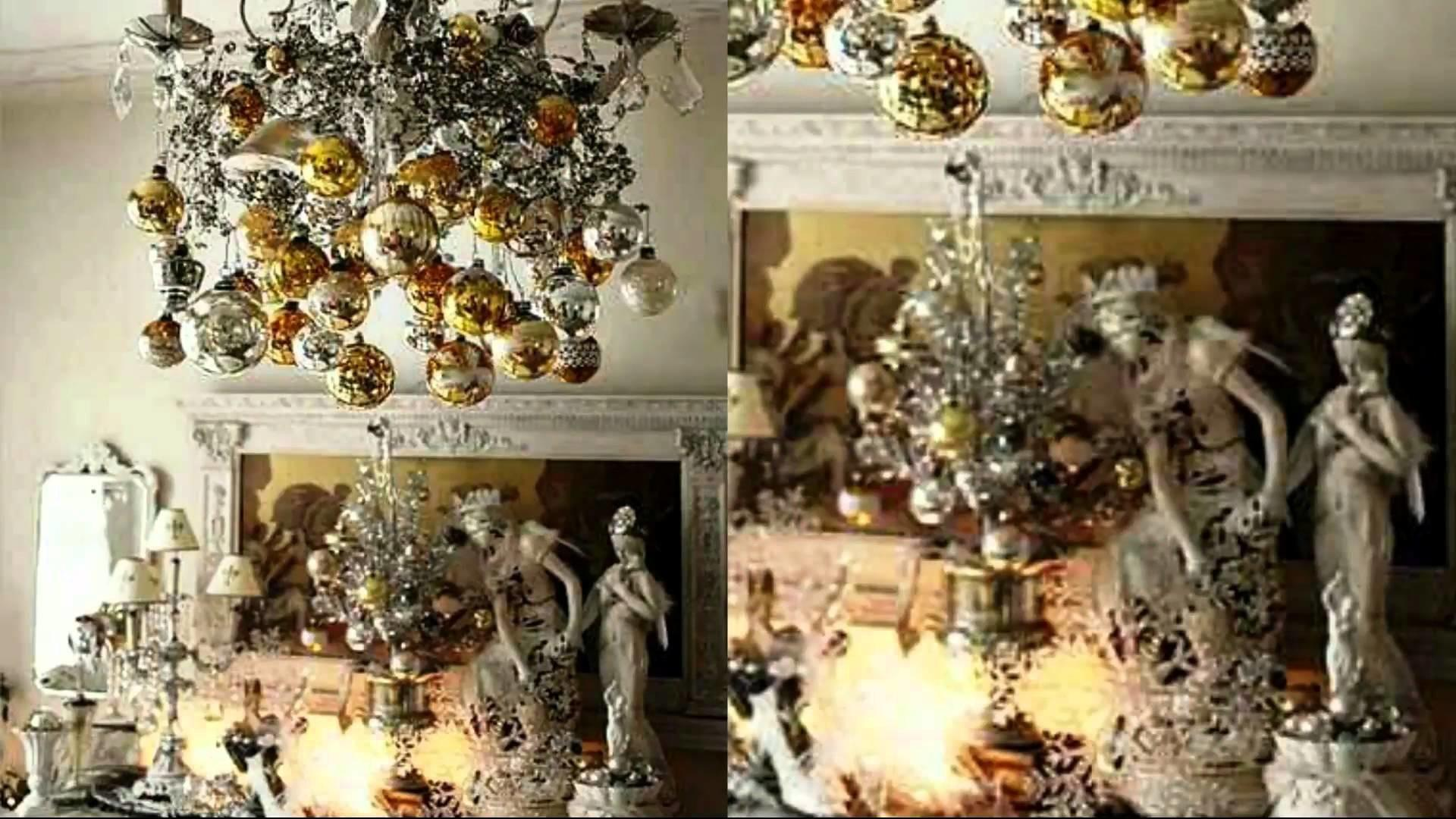 Gold Silver Christmas Interior Decorating Ideas