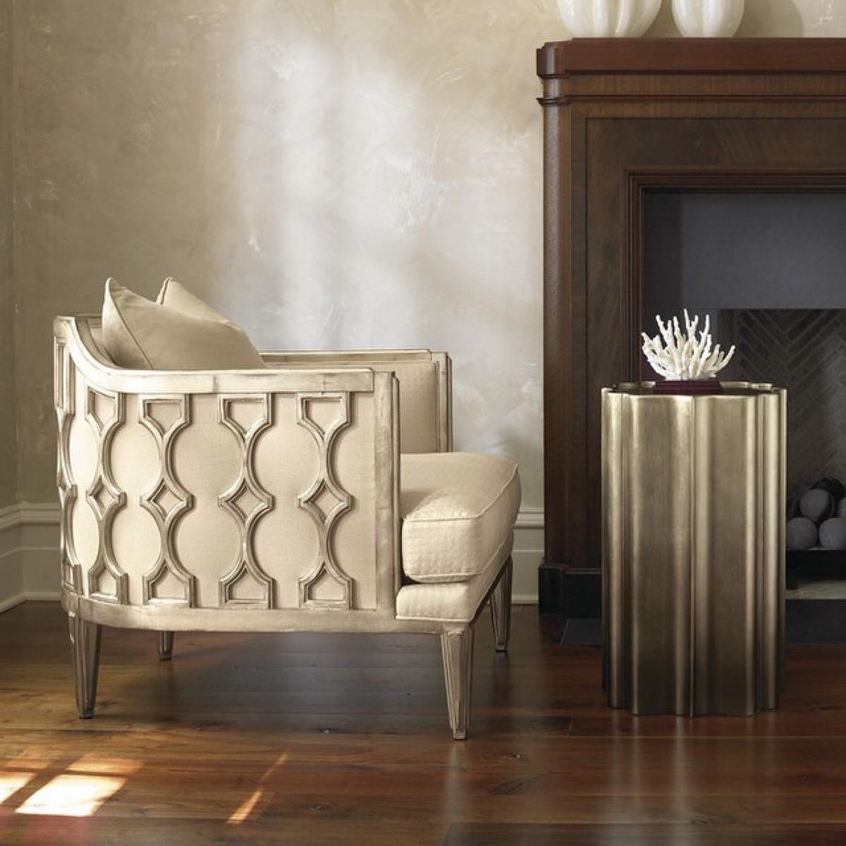 Gold Silver Leaf Accent Chair