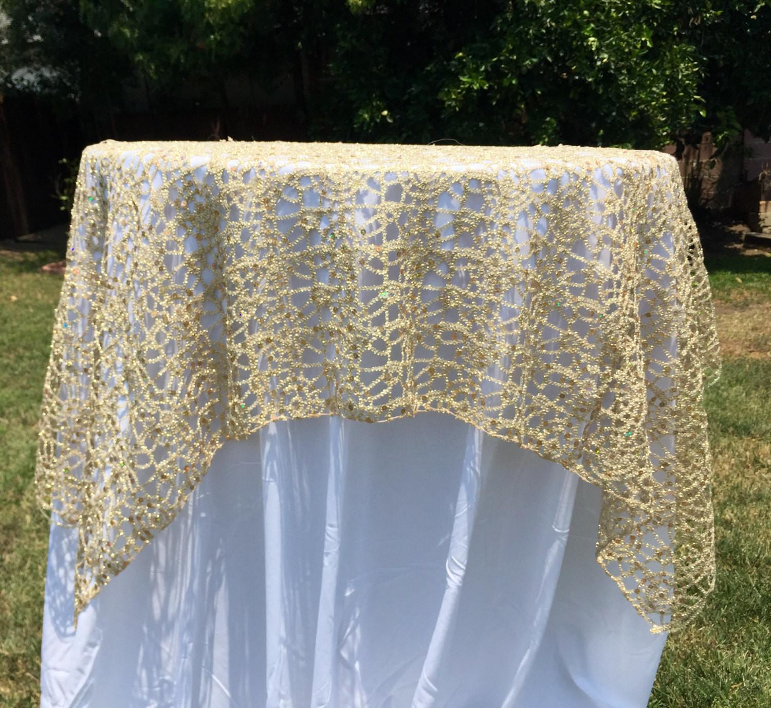 Gold Silver Sequence Chain Lace Table Overlay