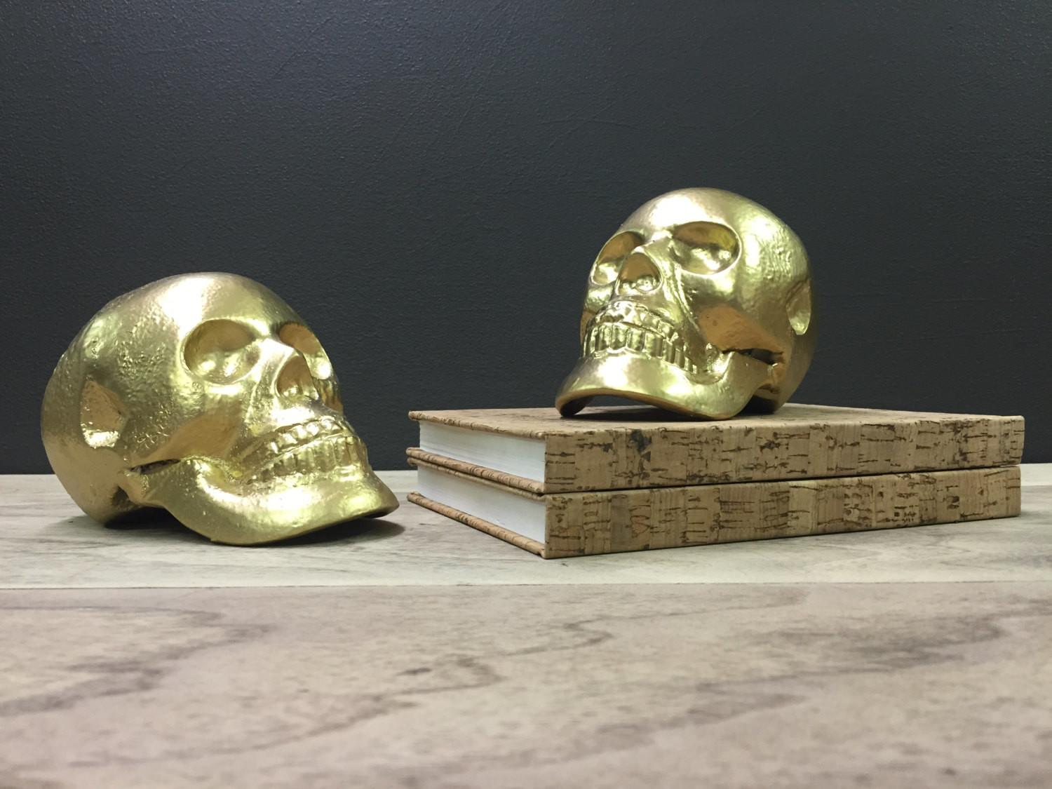 Gold Skull Bookends Heavy Cast Iron Unique Book Ends