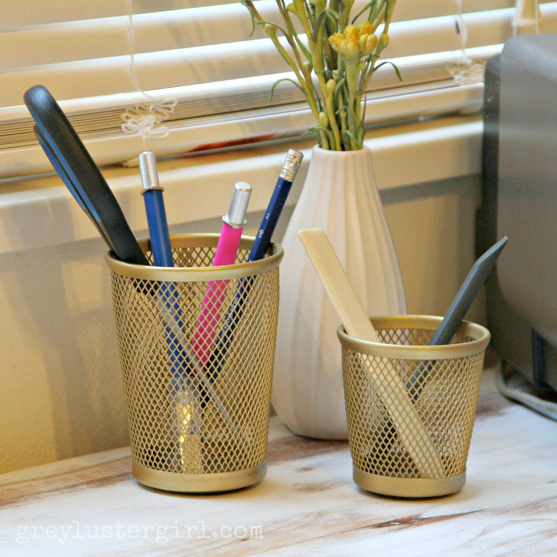 Gold Spray Painted Pencil Holders