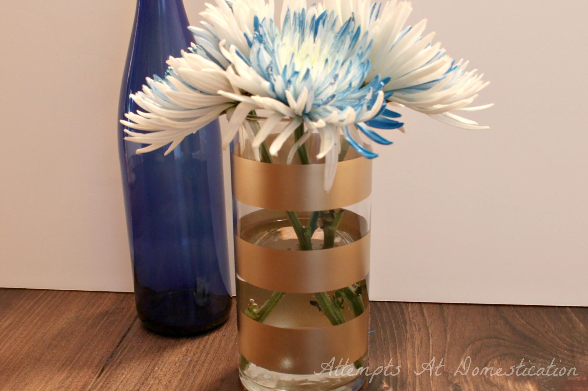 Gold Striped Vase Flowers Attempts Domestication