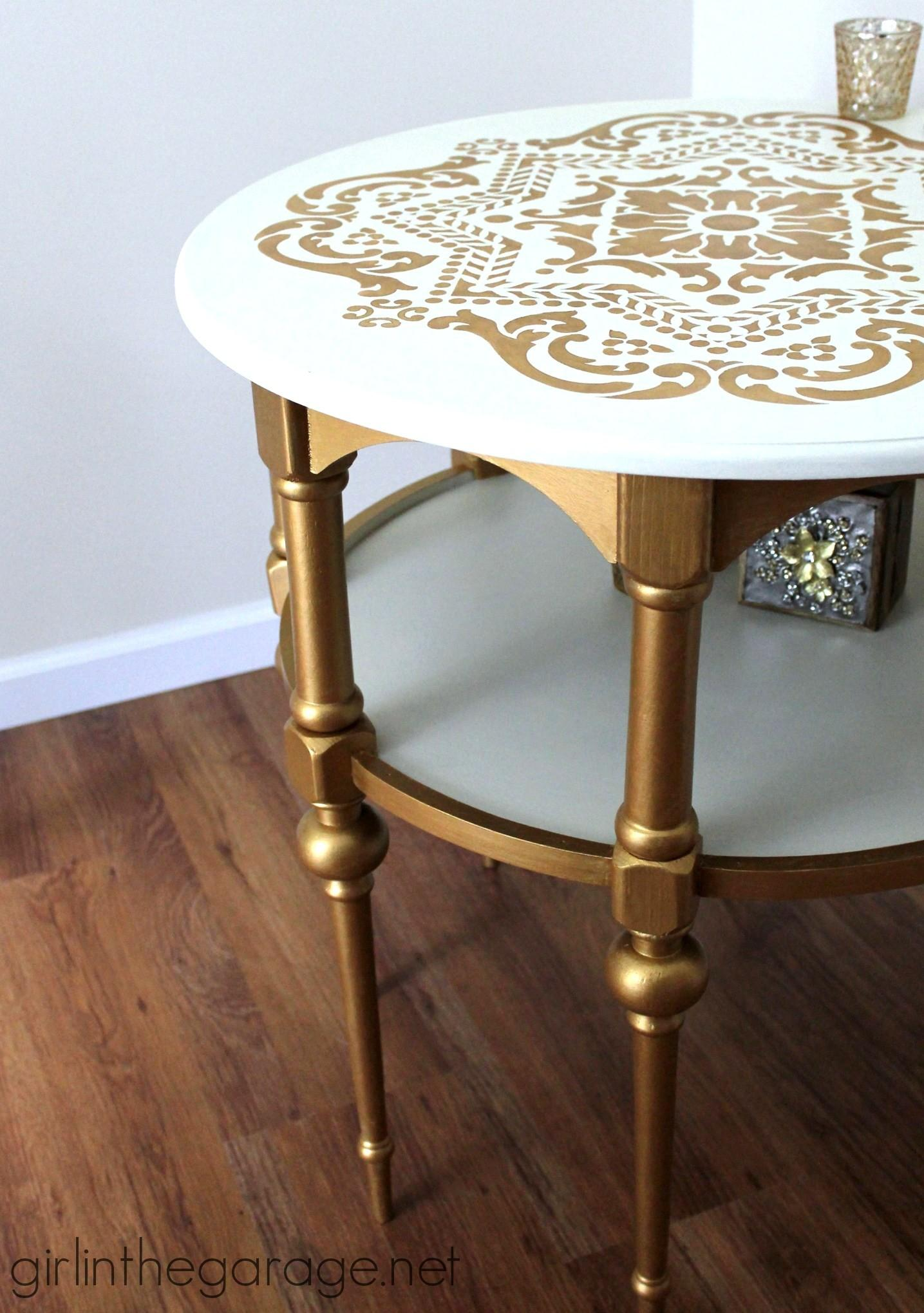Gold White Stenciled Table Themed Makeover Girl