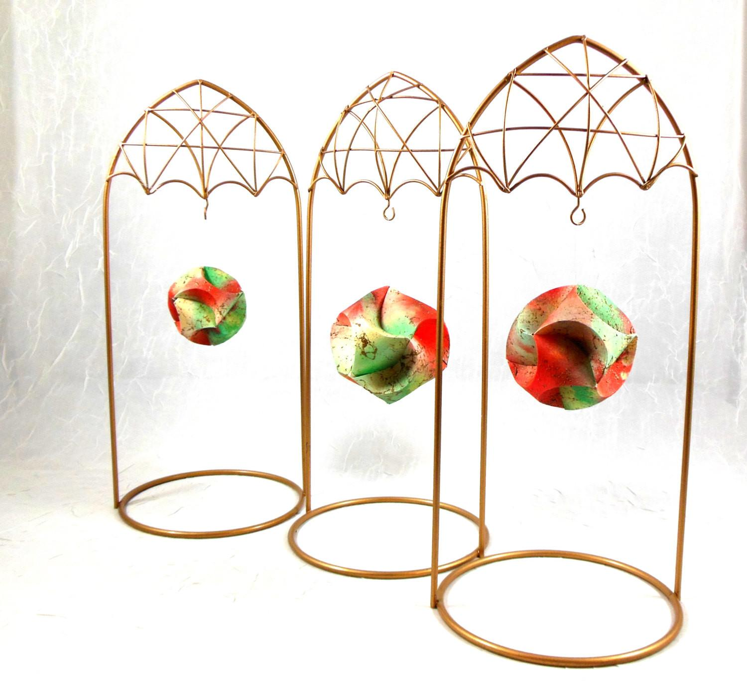 Gold Wire Ornament Stands Display Ornaments Christmas