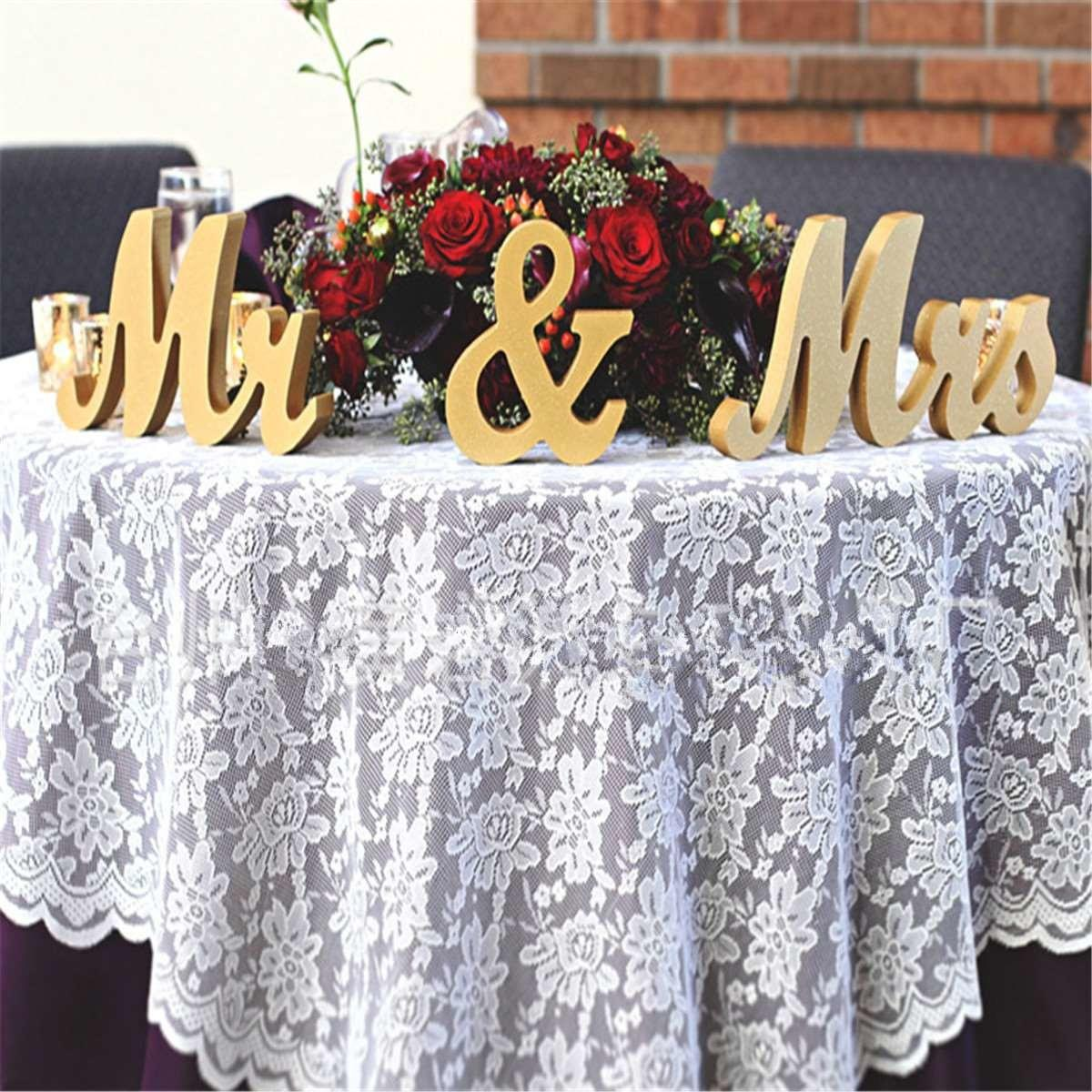 Gold Wooden Mrs Standing Letters Wedding Table