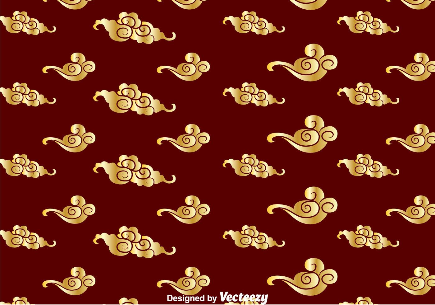 Golden Chinese Cloud Pattern Vector Art