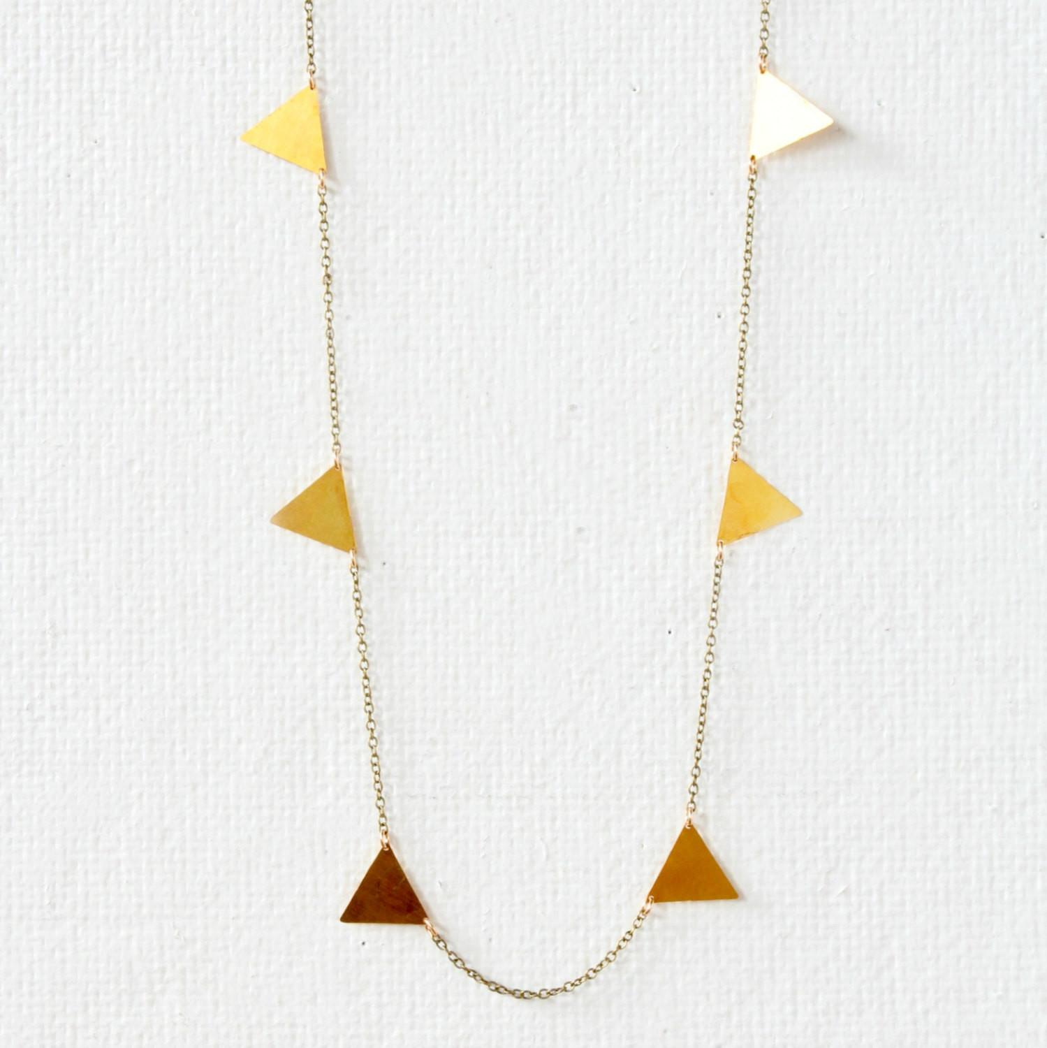 Golden Triangle Necklace Geometric Gold Charm