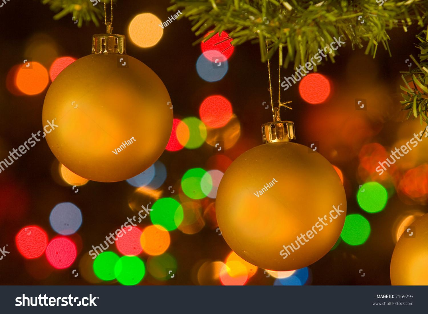 Golden Yellow Christmas Ornaments Hanging