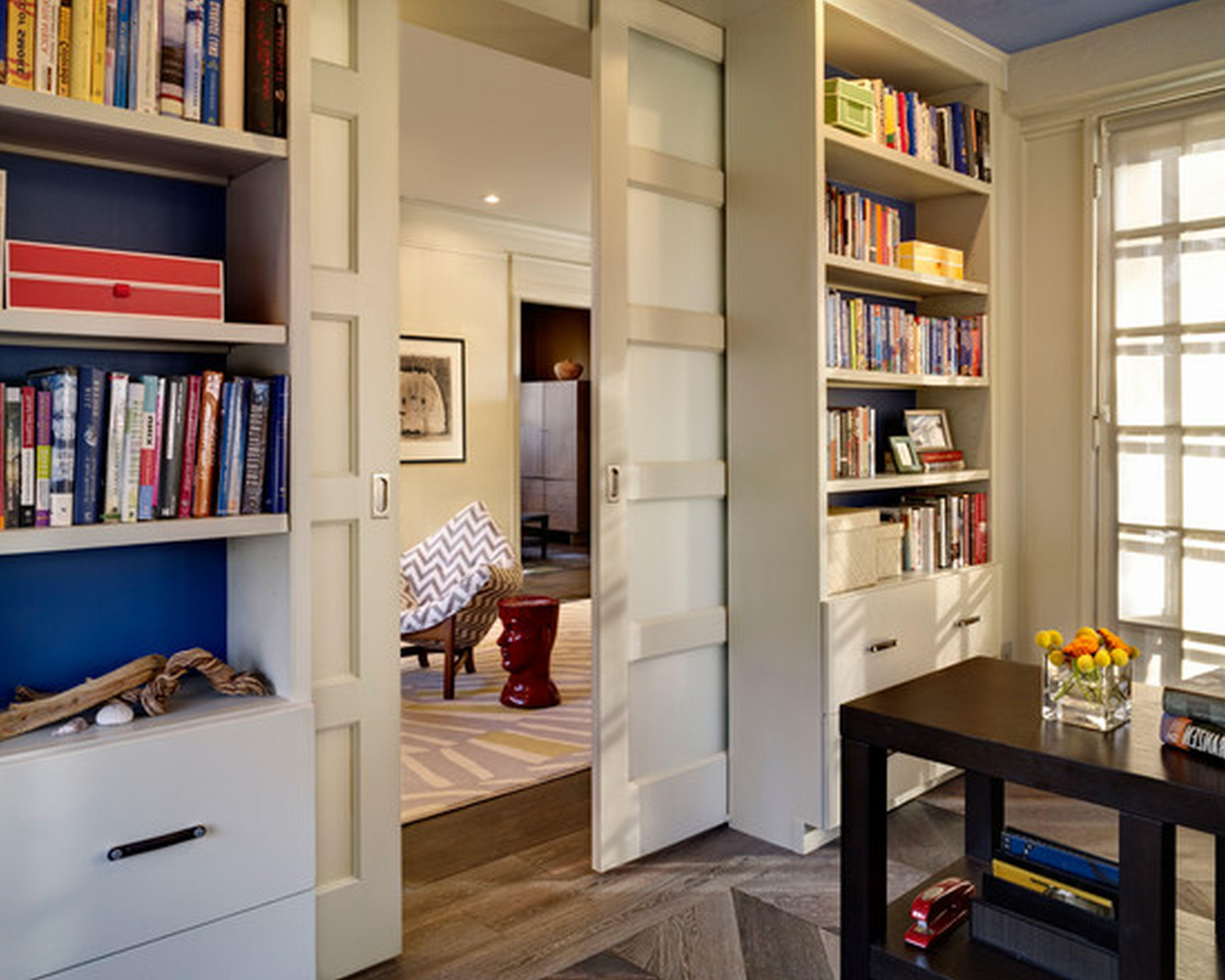 Gorgeous Small Home Office Sliding Door Feat Library