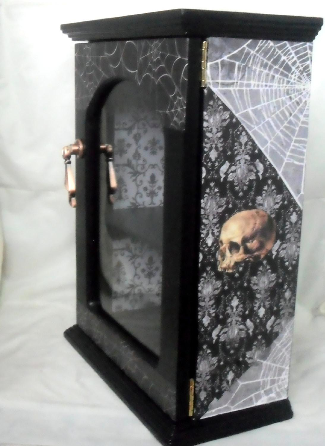 Gothic Display Cabinet Home Decor Skull
