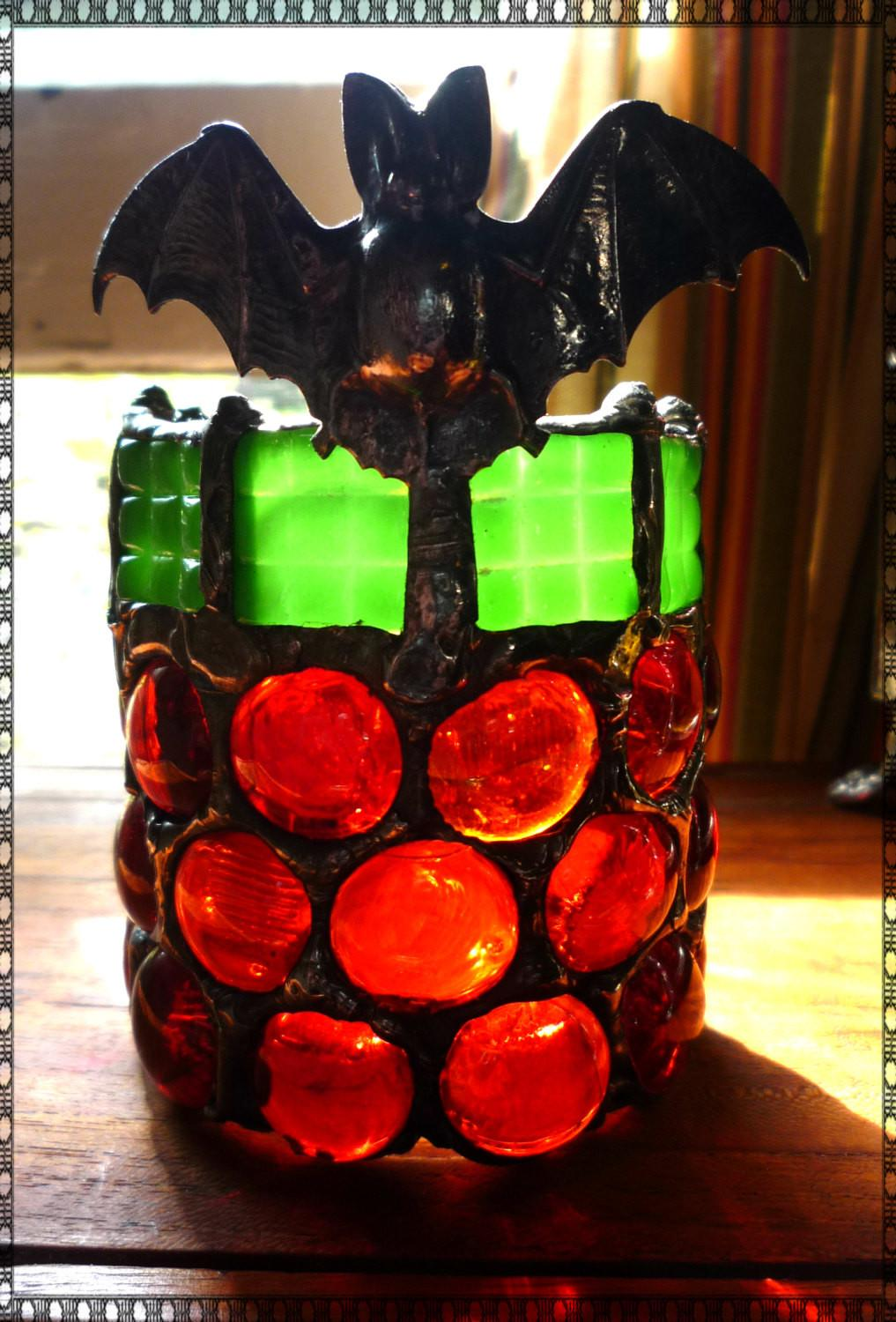 Gothic Fat Bat Mosaic Stained Glass Halloween Candle Holder