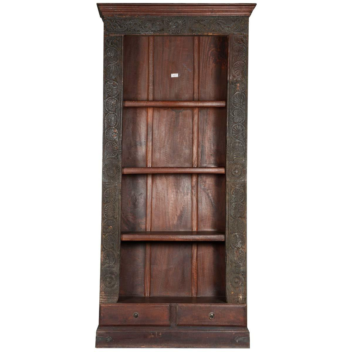 Gothic Reclaimed Wood Shelf Open Display Bookcase