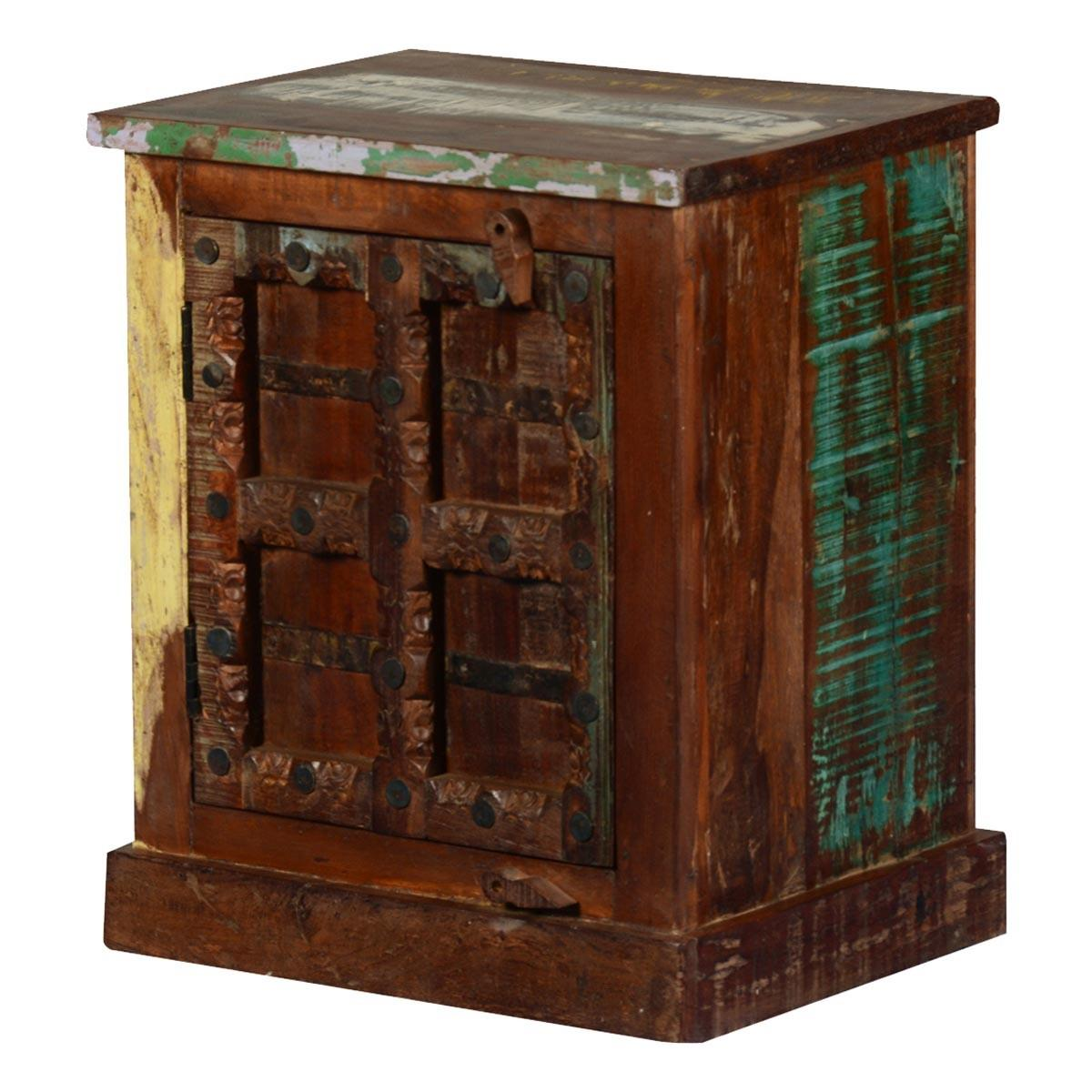 Gothic Rustic Reclaimed Wood Nightstand End Table Cabinet
