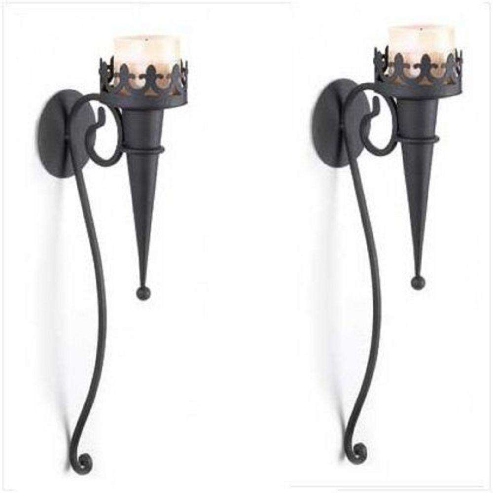 Gothic Sconce Black Candle Holder Wall Decor