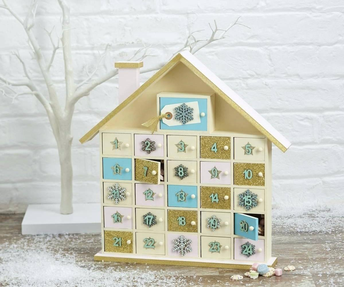 Gracious Holiday Village Wooden Advent Calendar Decorative