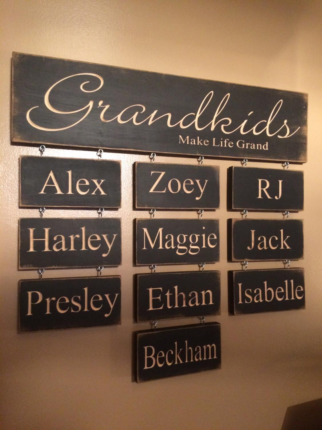Grandkids Make Life Grand Personalized Carved Wooden Sign