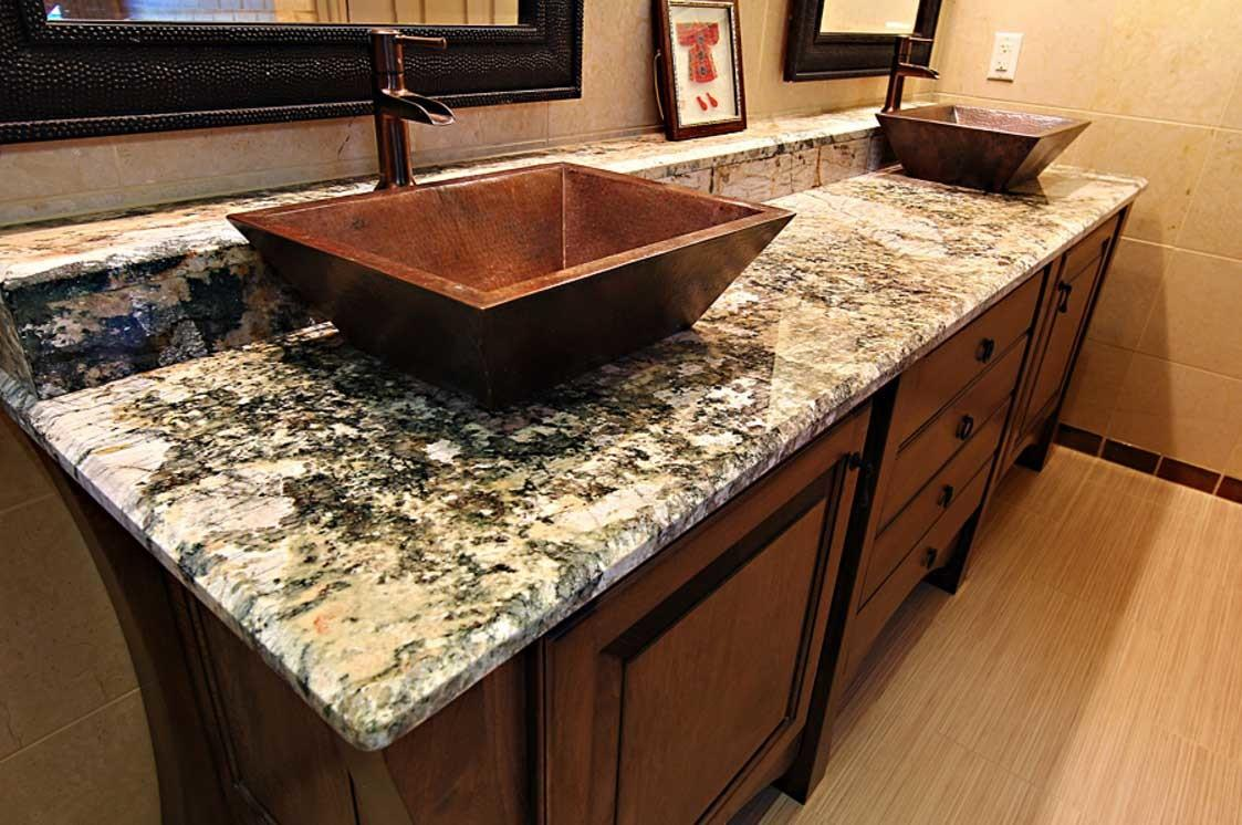 Granite Bathroom Countertops Double Vanity Sinks