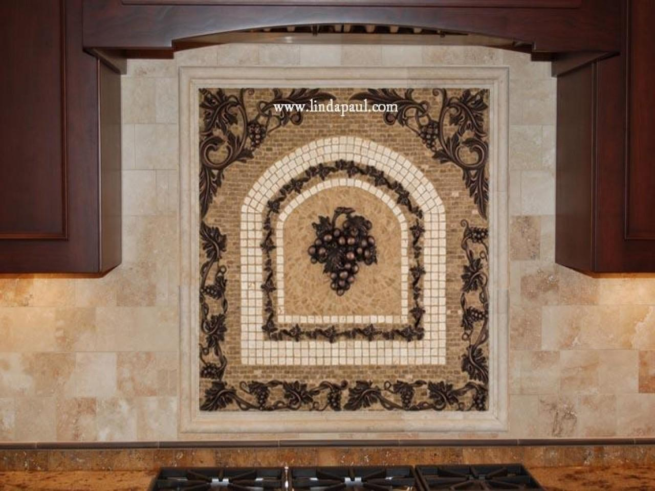 Grapes Mosaic Tile Medallion Kitchen Backsplash Mural