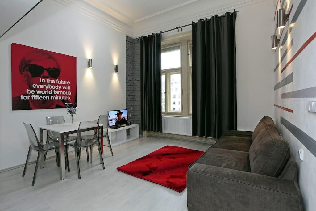 Gray Chic Flat Center Prague Apartments Rent