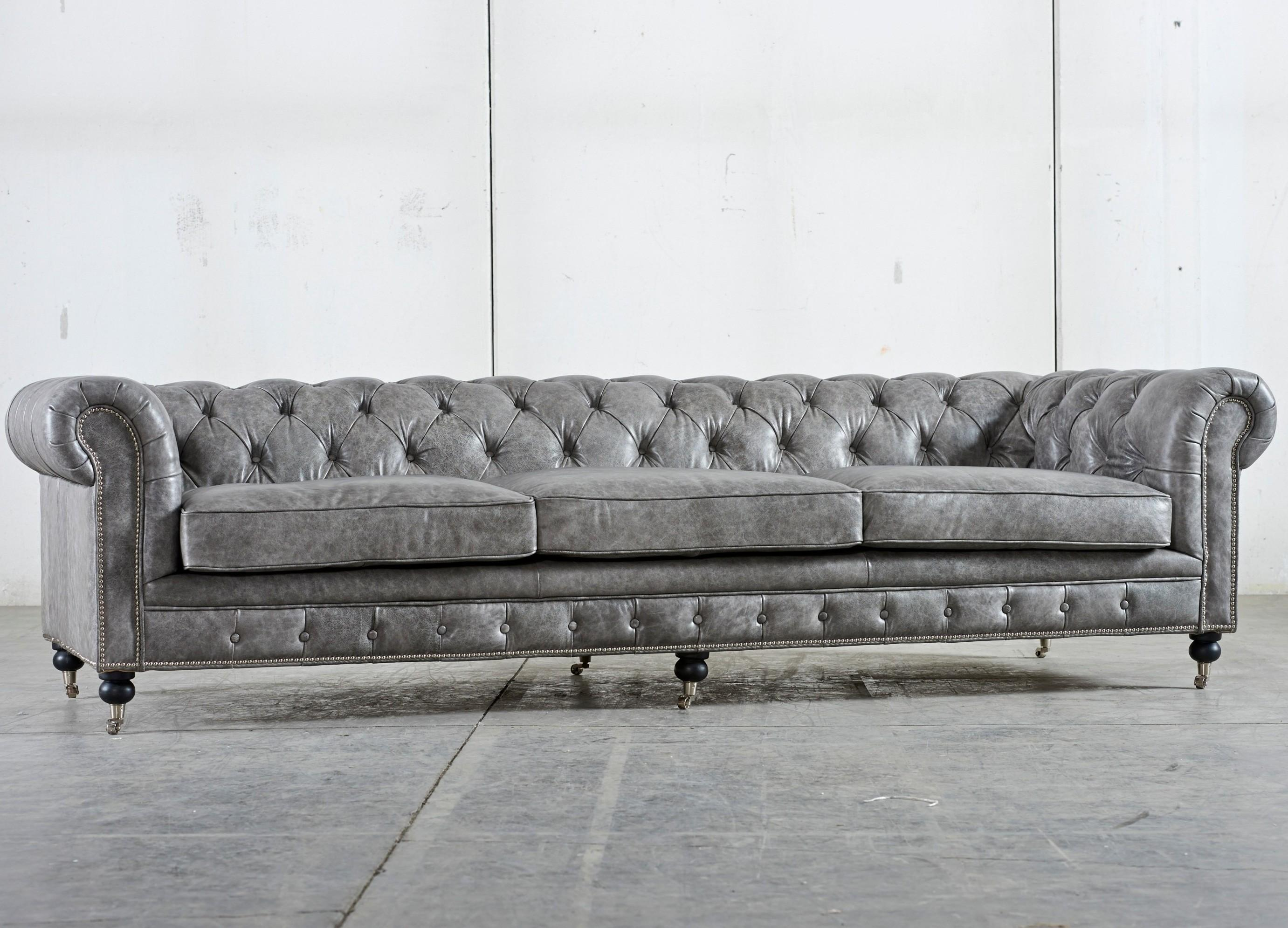 Gray Color Tufted Leather Sleeper Sofa Stainless