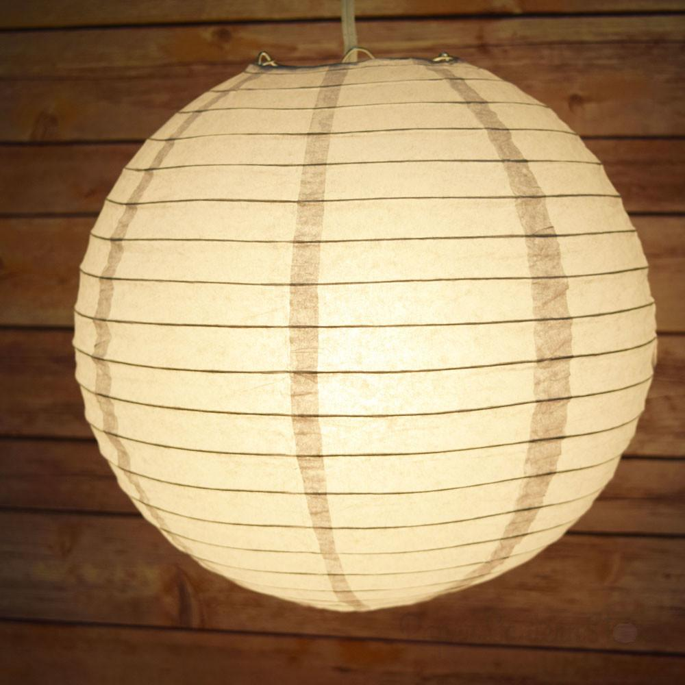 Gray Grey Round Paper Lantern Even Ribbing Hanging
