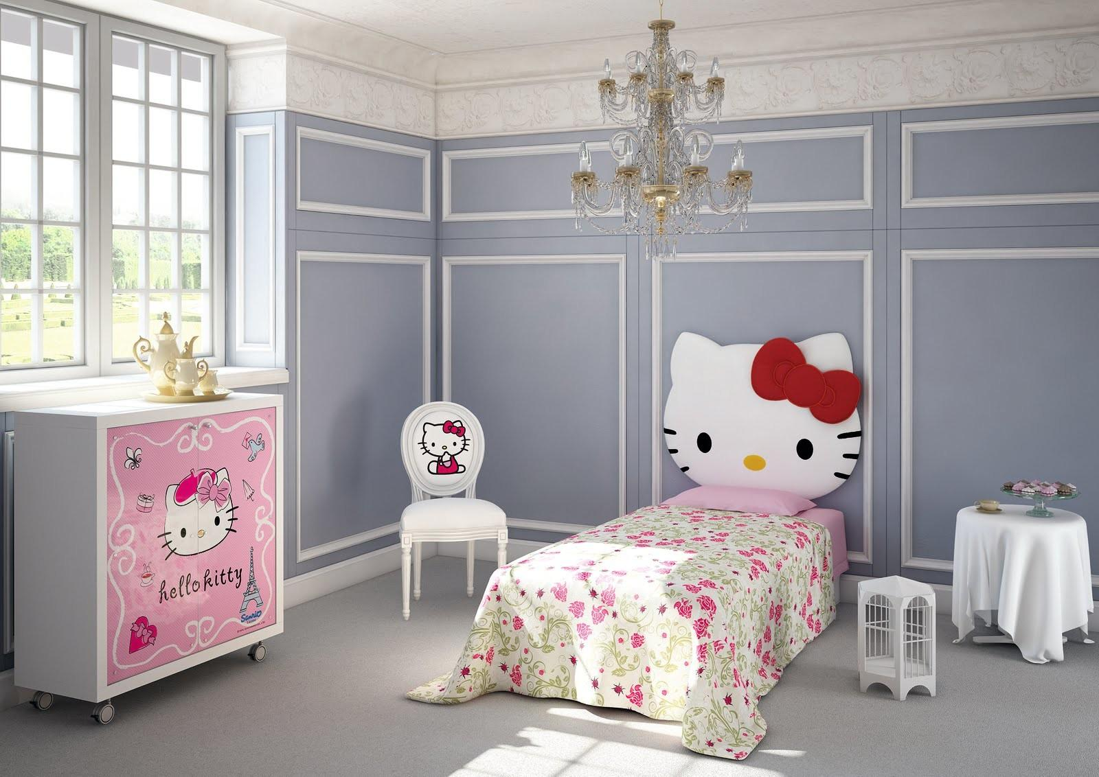 Gray Hello Kitty Bedroom Room Decor Design