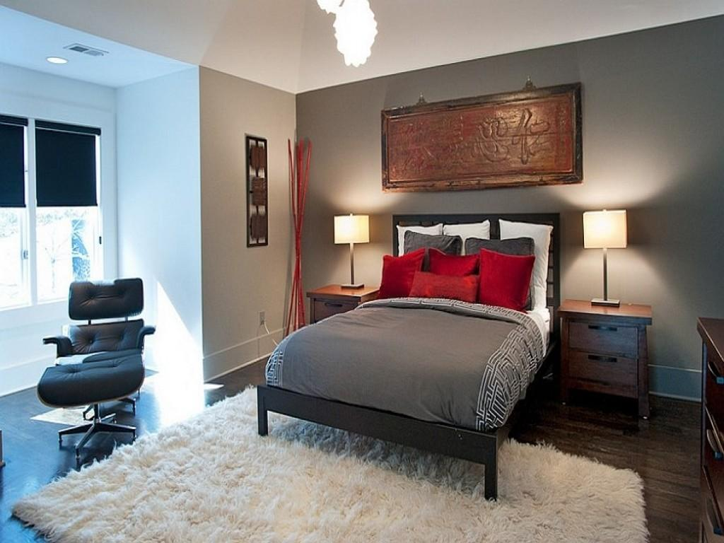 Gray Red Bedroom Grey Decorating