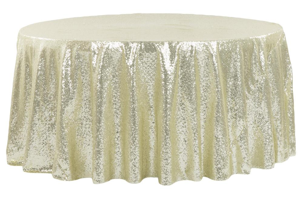 Great Glitz Sequins 132 Round Tablecloth Gold Linens