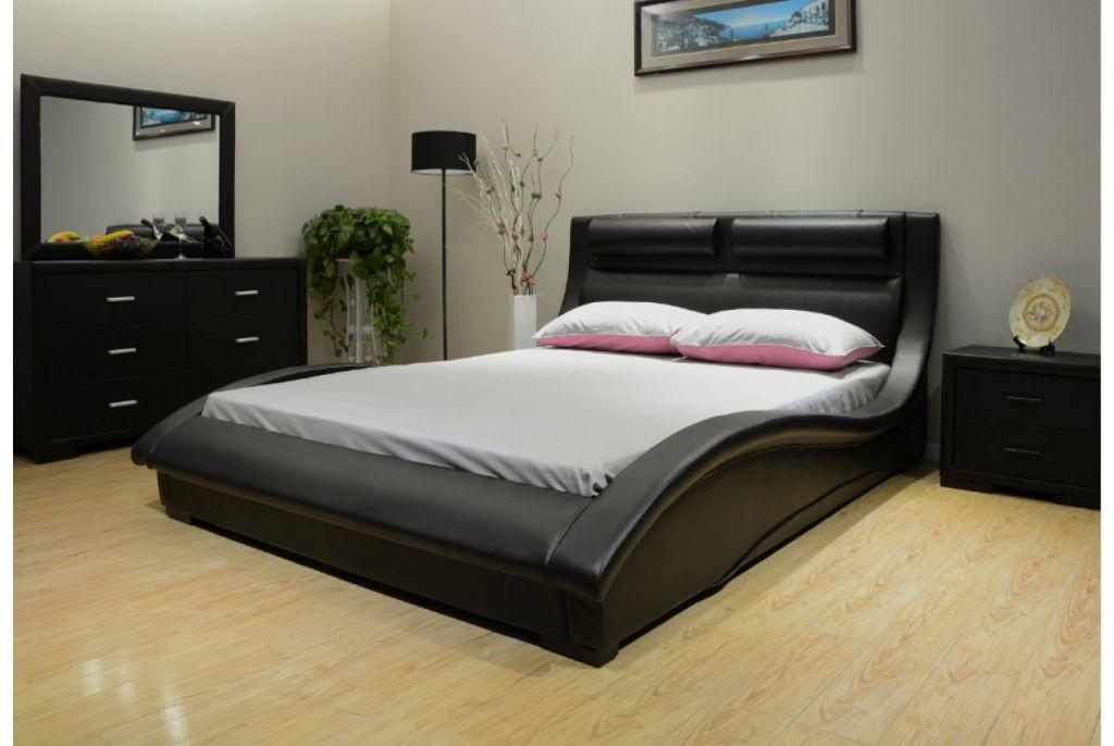 Great Looking Bedroom Black Huge Headboard