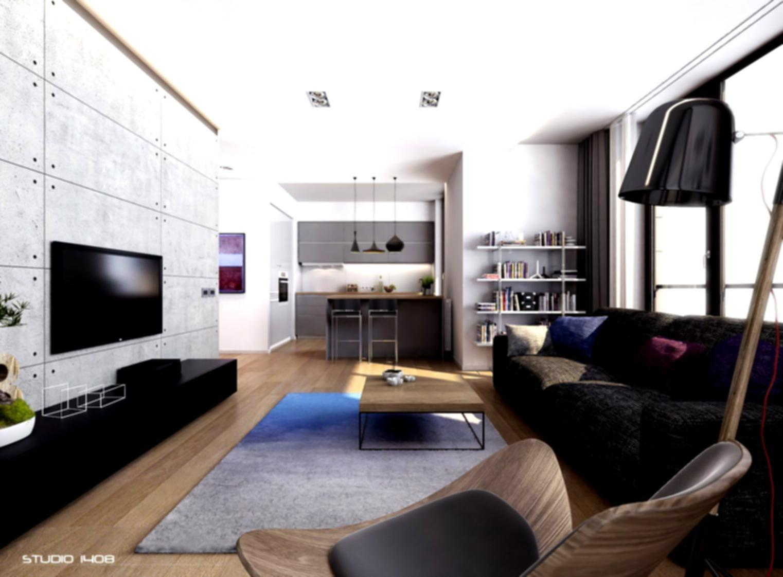Great Modern Apartment Living Room Design Luxury Sofa