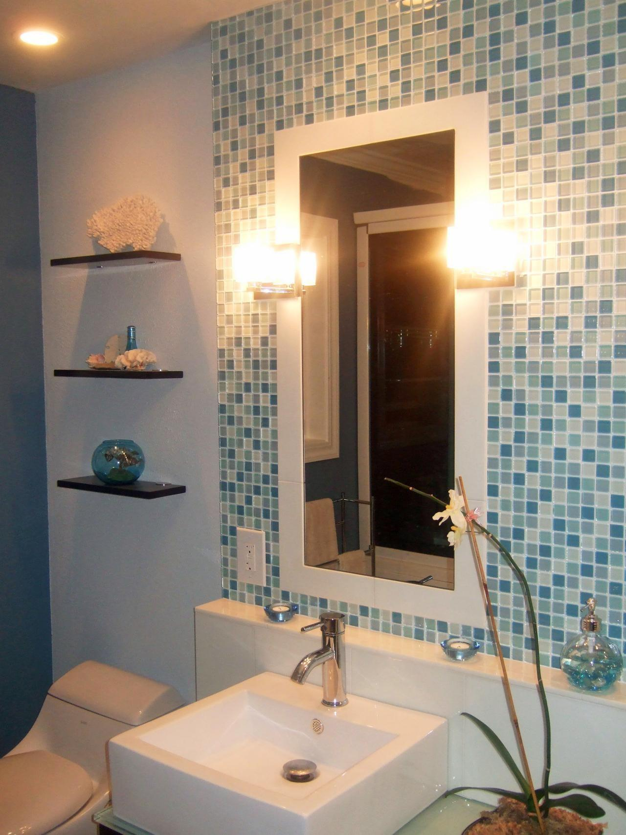 Great Small Bathroom Glass Tiles Ideas Interior White