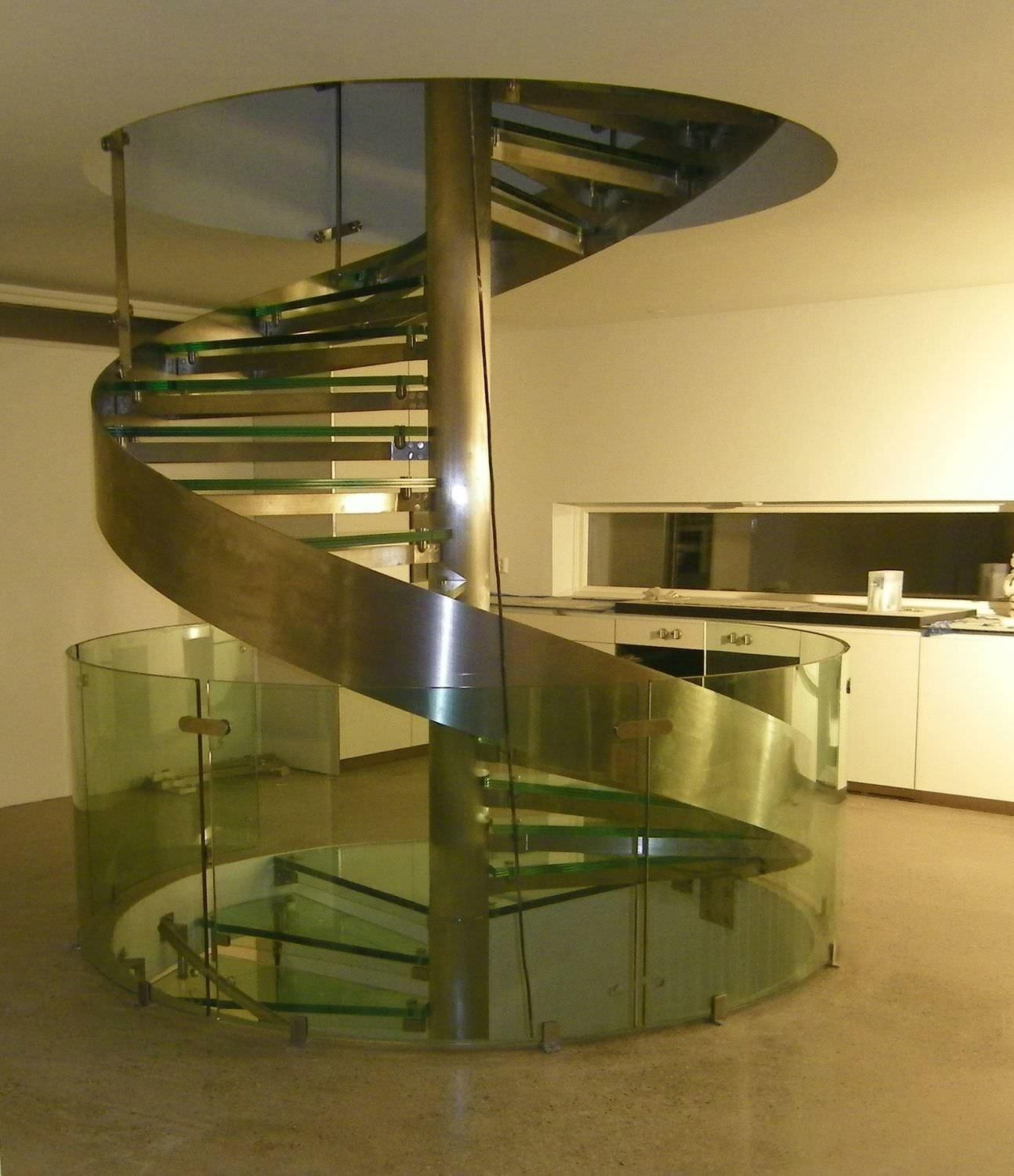 Great Spiral Glass Stairs Inserted Chrome Column Without