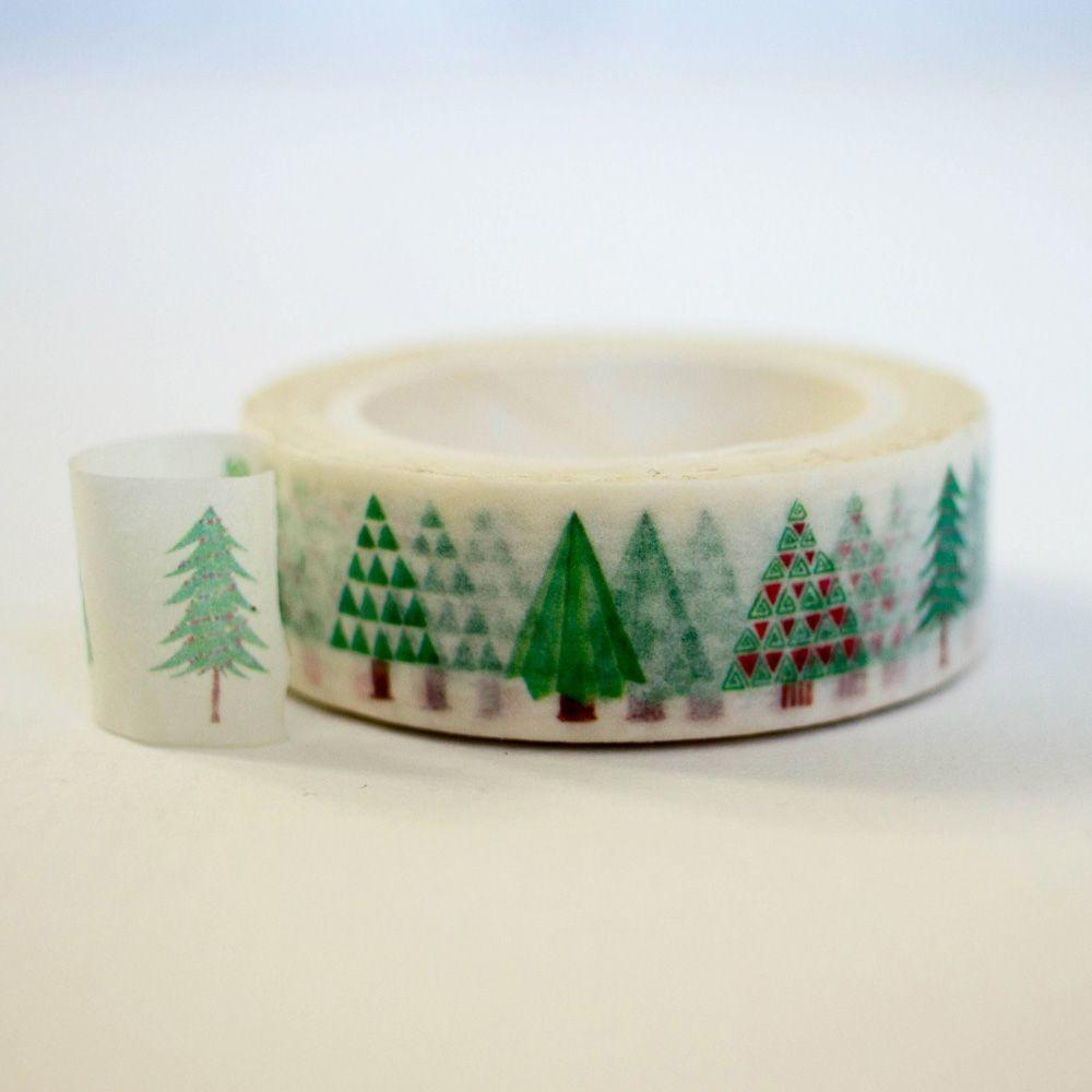 Green Christmas Tree Washi Masking Tape 10m Scrapbooking