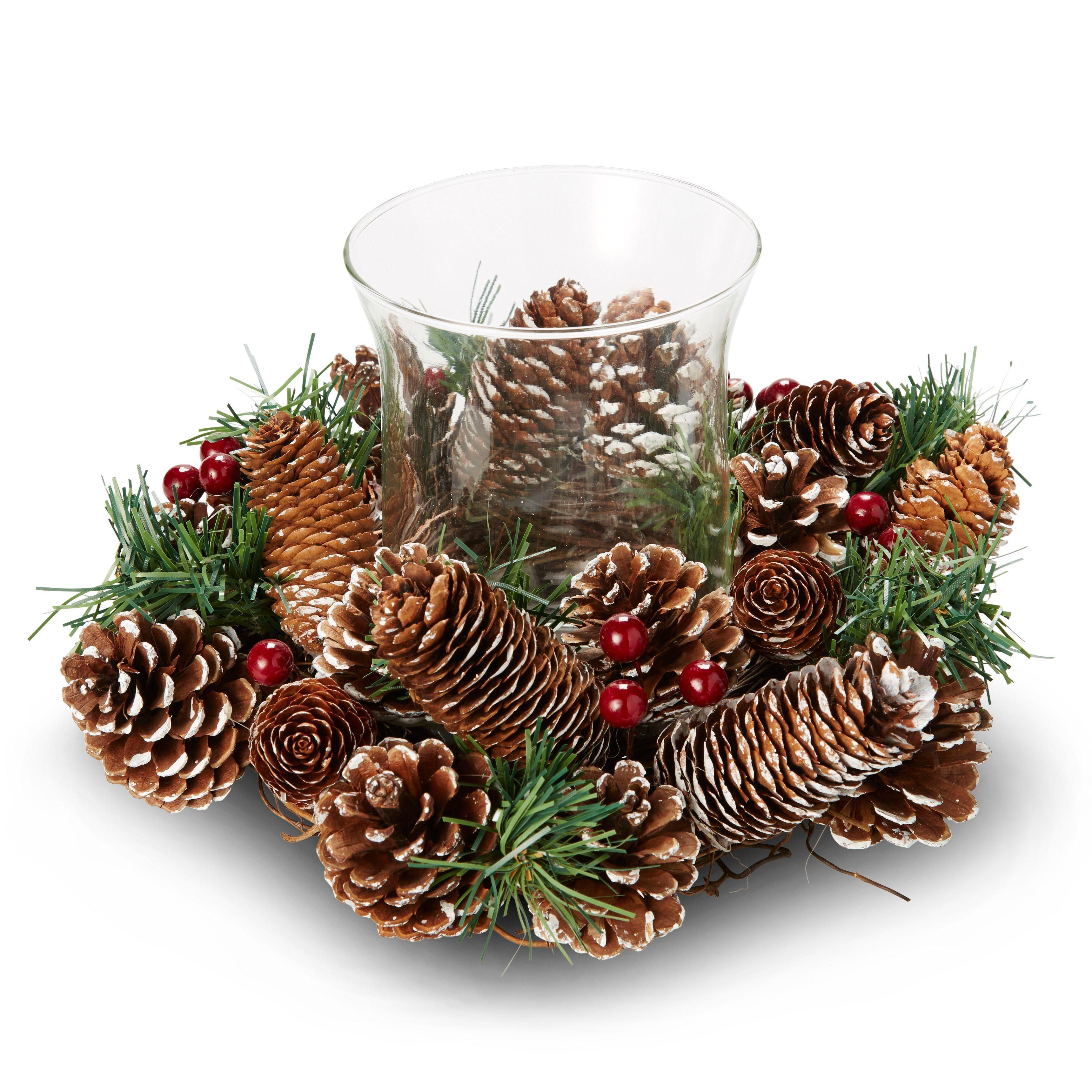 Green Fir Pine Cone Berries Candle Ring Departments