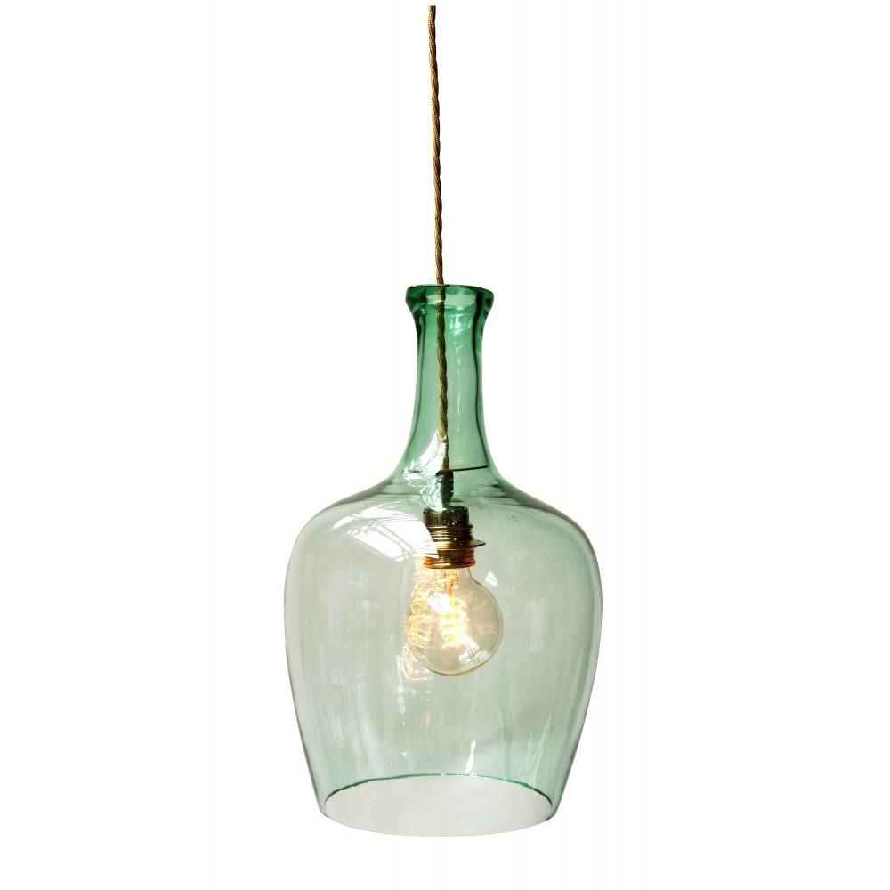 Green Glass Ceiling Pendant Light Demijohn Bottle Shape