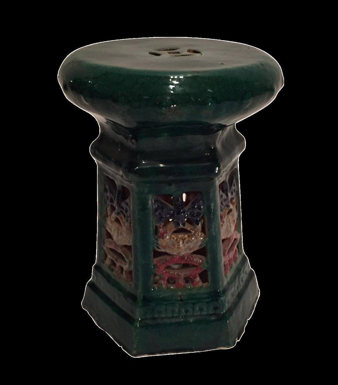 Green Glaze Chinese Garden Stool Chairish