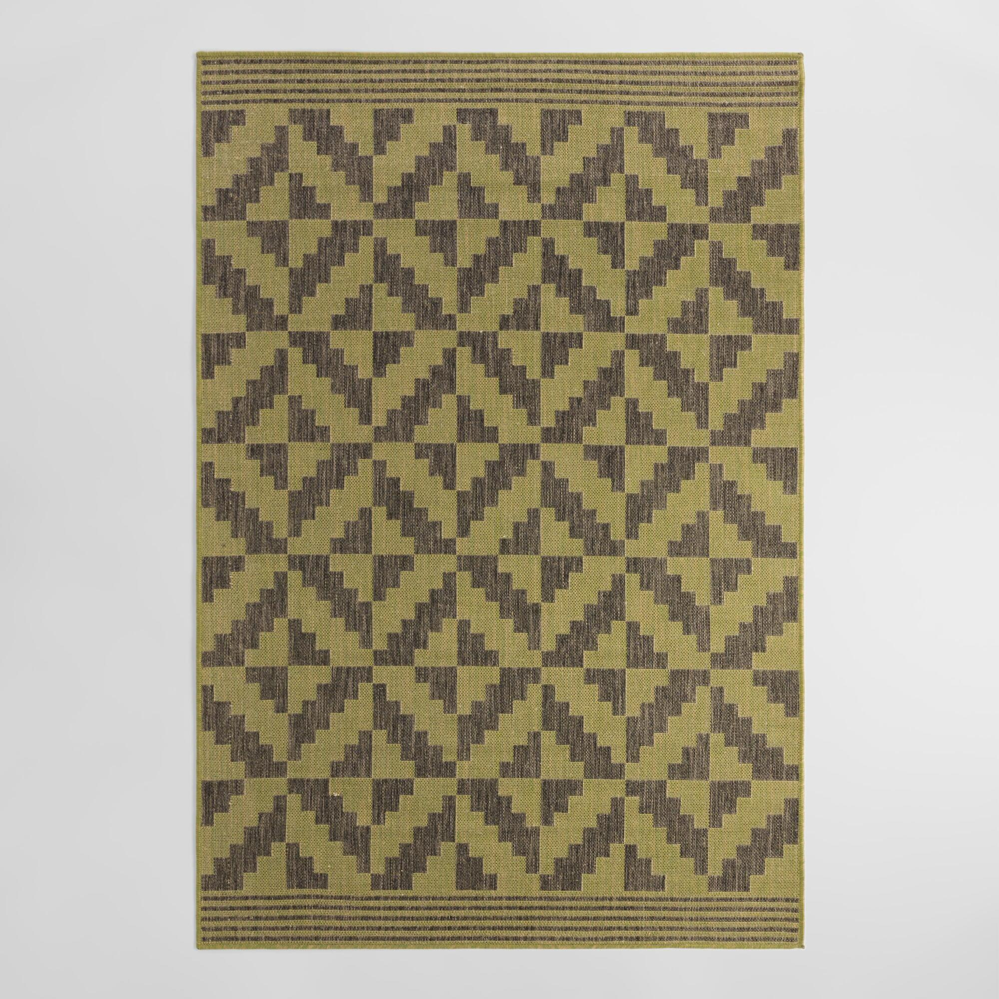Green Gray Geo Flatweave Indoor Outdoor Rug