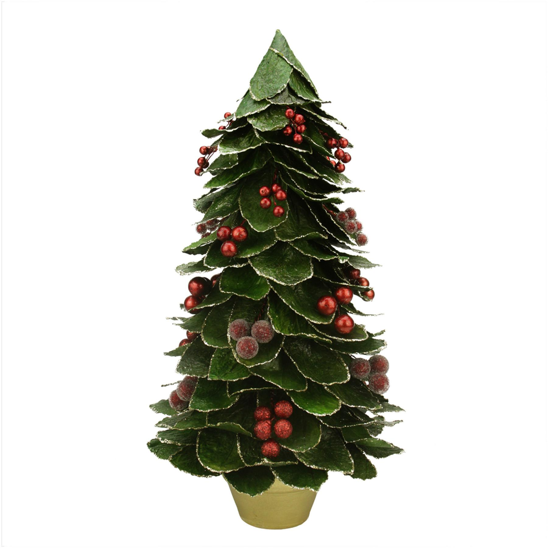 Green Holly Berry Glittered Leaf Potted Christmas Tree