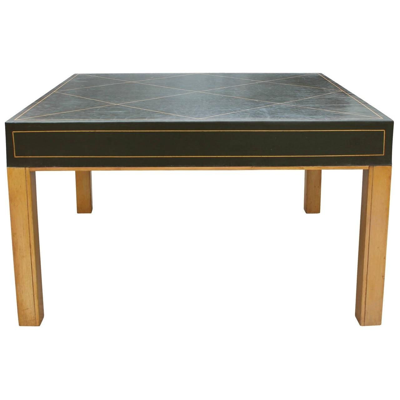 Green Leather Tommi Parzinger Style Coffee Table Sale
