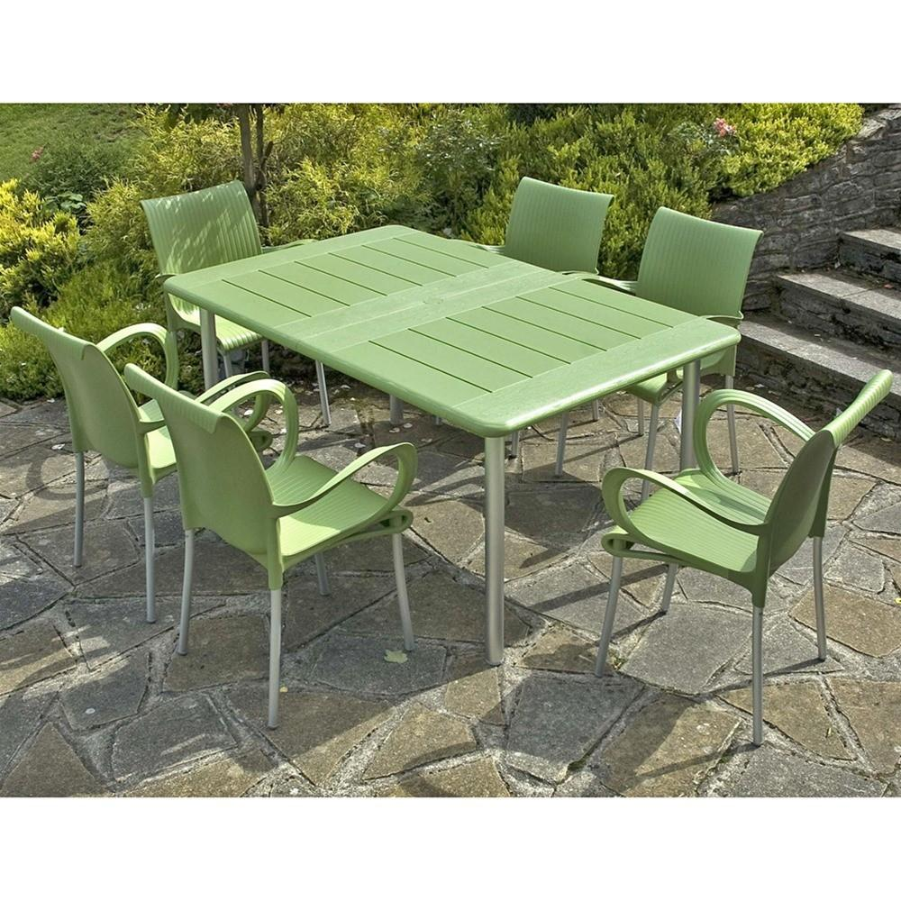 Green Plastic Garden Table Chairs Seating