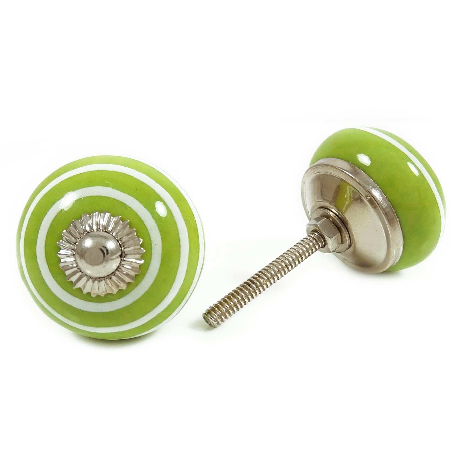 Green Round Shape Hand Painted Ceramic Knobs Cabinet